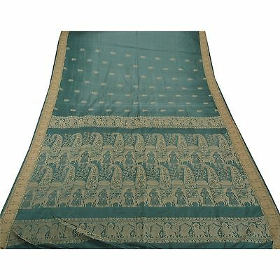 Sanskriti Antiuqe Vintage Saree 100% Pure Silk Woven Fabric Baluchari Green Sari