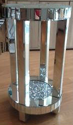 Crushed Crystal And Mirror Medium Round Side Table