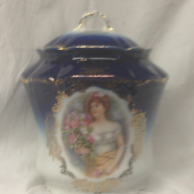 Mitterteich Bavaria Germany Lidded Jar Cobalt Blue Woman With Flowers Filigree