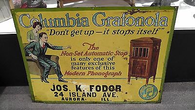 Antique Columbia Records Grafonola Painted Metal Ad Sign L.D. Nelke Signs N.Y.