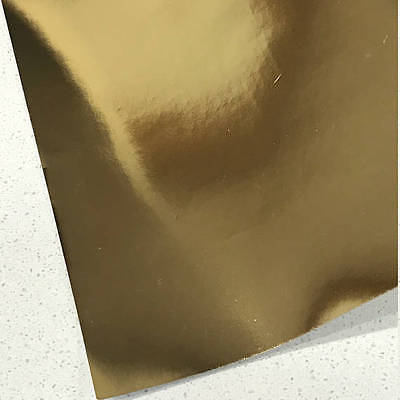 Gold Mirrored Leatherette 0.8mm Thickness Mirror Gold Glossy Leather
