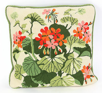 Vintage Needlepoint Pillow c. 1960's Orange, Red & Pink Flowers with Foliage