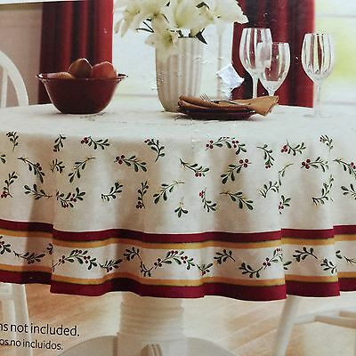"NEW Better Homes & Gardens Christmas Tablecloth 70"" Round Mistletoe Damask"