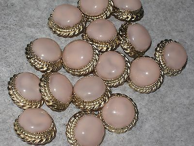 Chanel 14  Auth Gold  Button 14 Mm  Pink Gripoix Glass Cc Logo New Lot 14