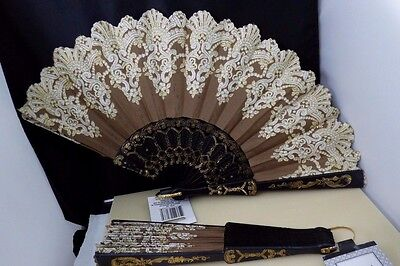 2  Womens Lace Fabric Brown White Gold Glitter Folding Hand Held Fans Dance NWT