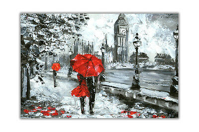 Couple Holding Red Umbrella in London Premium Glossy Poster Print Wall Pictures