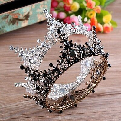 """Luxury 2 Colours Crystal Queen Crown Wedding Bridal Party Pageant Prom 5"""" Wide"""