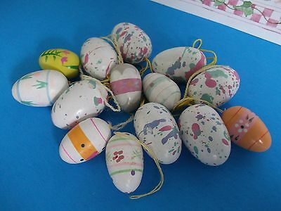 14 Vtg.easter Wooden Ornaments~Easter Tree Eggs~Water Color,craft~Decorations~
