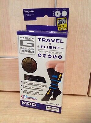 Unisex Neo G Compression Socks Black Colour Large Size for Travel and Flight