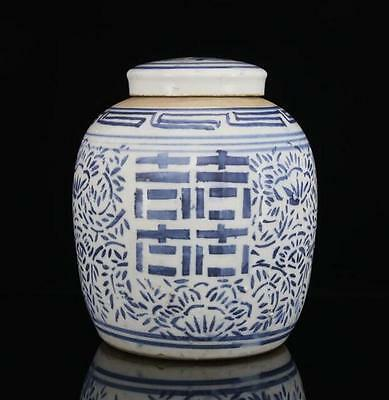 "chinese ancient Blue and white porcelain sculpture""囍"" Word pot"