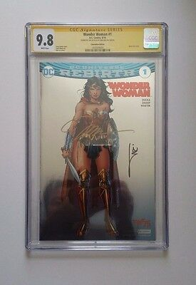 Wonder Woman #1 Rebirth CGC 9.8 SDCC Foil  Variant Signed by Jim Lee + Williams