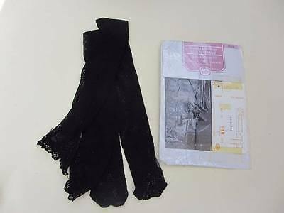 Vintage black fishnet stockings & seamed heel motif garter suspenders 2 pairs