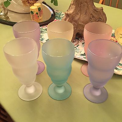 "6 Piece Pastel Parfait Ice Cream Frosted Satin Glasses Vintage 7 3/4"" Tall"