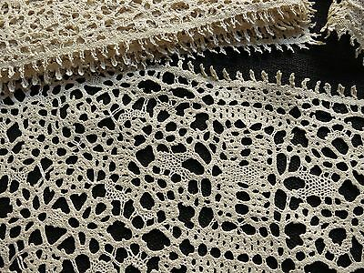 STRIKING Fine Antique Handmade BOBBIN LACE 12 Placemats, Runner Ecru TABLE READY