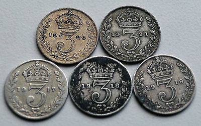 George V  1917-21 Silver Threepence's (A)