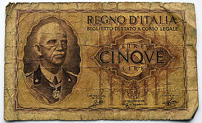 1939 Italy 5  Lire Banknote.    (D3)