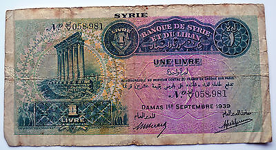Syria 1939 One Livre Note.    (D3)