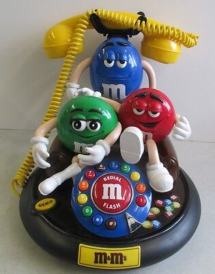 M&M's CANDY ANIMATED TALKING LANDLINE TELEPHONE WITH RED GREEN AND BLUE M&M's