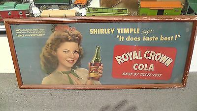 "Vintage Royal Crown 1940's ""Shirley Temple"" Poster Board Framed Sign 29""x12""RARE"
