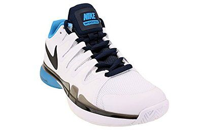 Nike Men Zoom RF Federer Vapor 9.5 Tour Tennis Shoes White/Blk/Blue 631458-181*