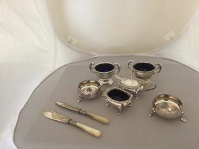 Lovely Lot Of 6 Silver Plated Salts Some With Bristol Blue Liners