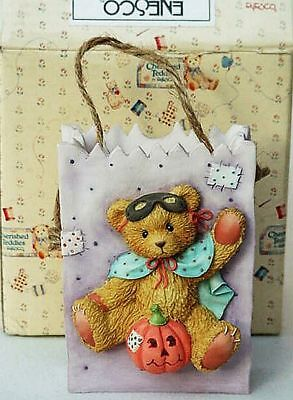 New Retired Cherished Teddies Bear Vase Halloween Treat Gift Bag 1995 22 Yrs Old