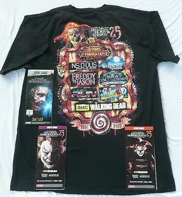 New 2015 Universal Halloween Horror Nights 25 Jack T Shirt X Large + 3 Guides