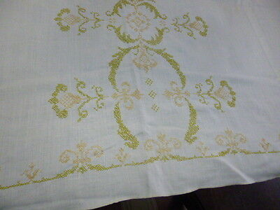 Vintage Hand Embroidered Linen Tablecloth Cross Stitch Peach Green Ornate