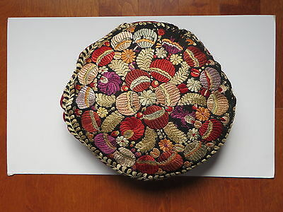 Antique Hand Embroidered Round Pillow on Velvet  (Late 19th c-Early 20th c)