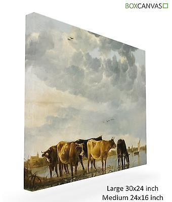Aelbert Cuyp Dutch Golden Cows In River CANVAS PICTURE WALL ART