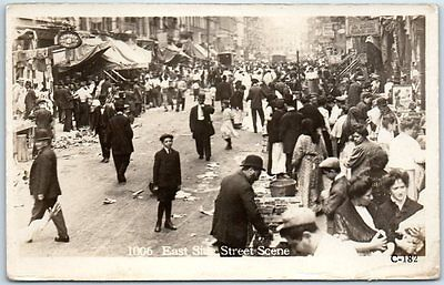 "New York City RPPC Photo Postcard ""East Side Street Scene"" Busy Market Unused"