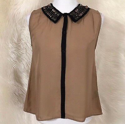 Ramo Selvagem Nwt Ivory Jeweled Collar Blouse Shirt Top Womens Size
