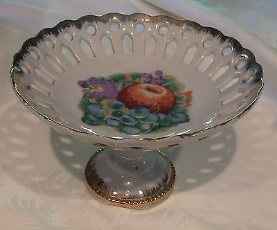 Napco Pedestal Bowl Dish Fruit Open Lattice Gold Reticulated Compote