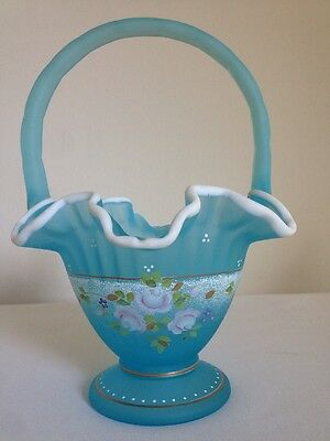 Fenton Art Glass  Blue Topaz Satin  Basket - Charleton Collection - Bill Fenton