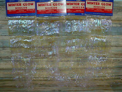 """Vintage Winter Glow Opalescent Christmas Tree ICICLES 4 pkgs 2000 Strands 18"""" L"""