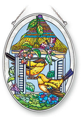 GOLDFINCHES Suncatcher NEW Hand Painted Glass Yellow Bird House Oval 7x5