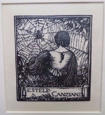 Frank Brangwyn, 1919 Bookplate Wood Engraving on Vellum for Estella Canziani.