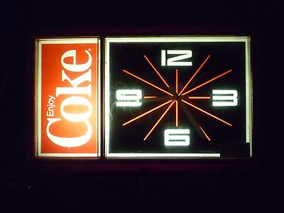 Vintage 1984 Coca-Cola Coke Lighted Clock by Ridan Displays Inc WORKING UNIT