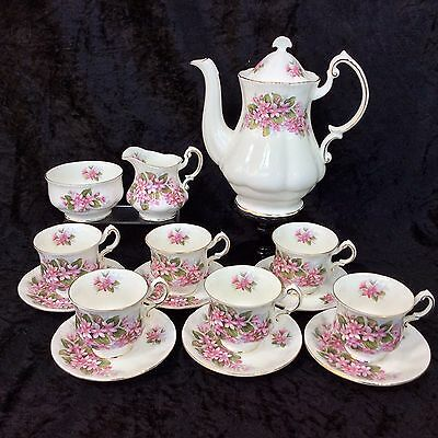 Vintage Paragon China Coffee Set Mayflower Canadian Provincial Flowers 1970's