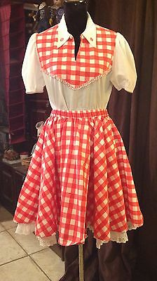 Ladies Red Gingham Check Line Dance Skirt
