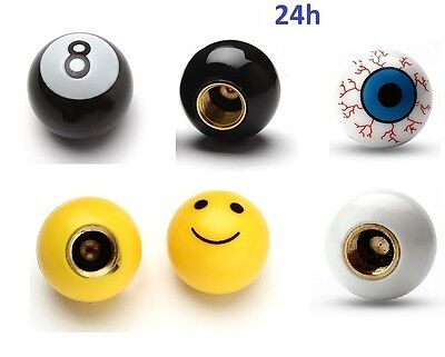 lot 2 Bouchons 8 Ball Billard Oeil Smiley Valve Voiture Pneu Auto Moto Velo BMX
