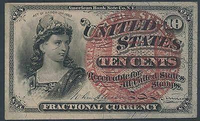 #fr1258 10¢ 4Th Issue Fractional -- Au -- Large Red Seal Unwatermark Bt8193