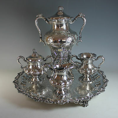 Antique Meriden Silver plate Hot Water Urn Samovar with Tray and Extra's