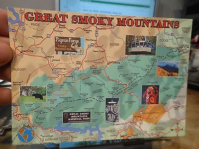 Vintage Old TENNESSEE Postcard Great Smoky Mountains Pigeon Forge Gatlinburg Map