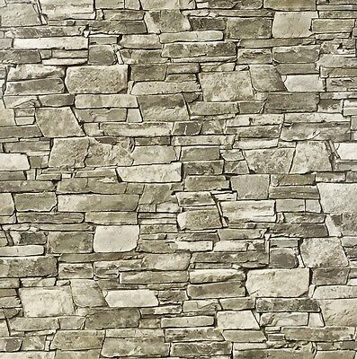 vinyl Wallpaper textured brown gray modern wallcovering stone faux roll 3D brick