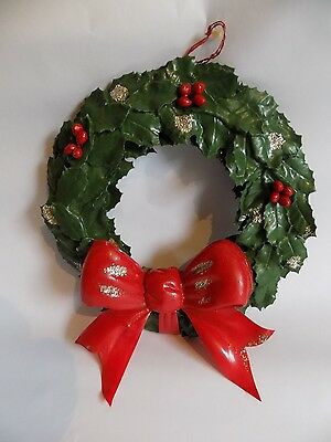 Vintage Christmas Decor Wall Decoration Plastic Wreath with Bow