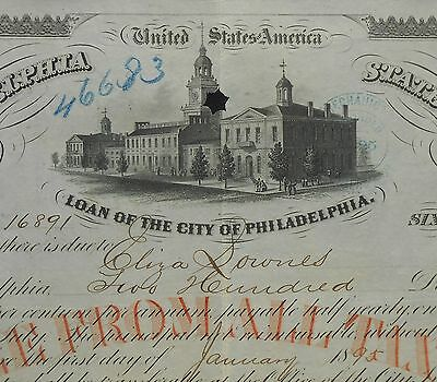 1867 $200 Loan of the City of Philadelphia Reading Railroad? Steam Engine Philad