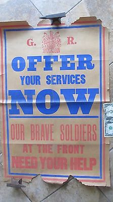 SUPER 1914 Antique WWI BRITISH ENLISTMENT Poster, England Home Front, At Front