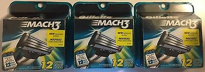 Gillette Mach3 Cartridges. 3 packs 12 cartridges each (36 in total). Brand New.