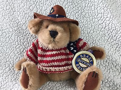 """Brass Button Bears Collection """"Cody"""" Pickford American Flag Sweater & Hat Teddy"""